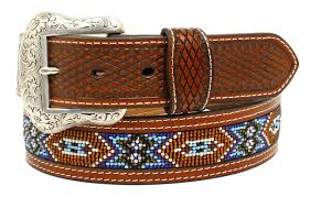 nocona western mens belt leather tooled southwest beaded brown n2484408 for