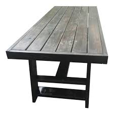 D Dark Thick Wood Outdoor Dining Table Custom Made In Miami For Sale