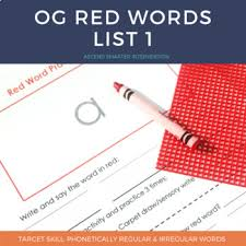 Word In Red Orton Gillingham Red Words List 1