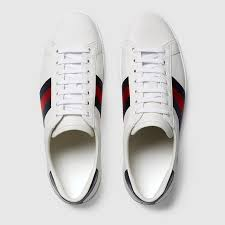 Men S Gucci Size Chart Mens White Leather Ace Sneaker With Stars Bees Gucci Us