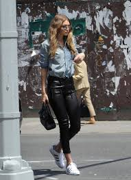 gigi hadid in leather pants and denim shirt streetstyle