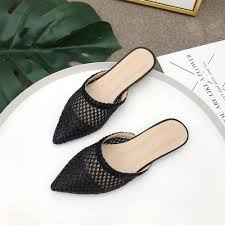 Happy Feet Slippers Size Chart Us 14 08 36 Off Niufuni Women Pointed Toe Low Heel Slide Sandals Summer Slippers Cane Woven Beach Shoes Woman Mule Flat Sandals In Slippers From