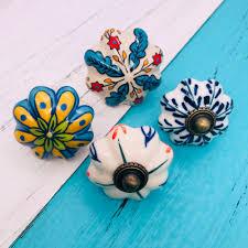 1pcs Door Handle Knobs Hand Painted Flower Ceramic Door Handles
