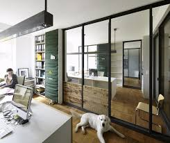 modern minimalist office. Office:Contemporary Minimalist Office Room Design With Clear Glass Doors And Built In Wall Shelves Modern E