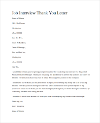 Thank You Letter After Face To Face Interview Job Interview Thank You Letter Template Business