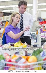 Stock Photography Of Supermarket Manager And Cashier At Checkout