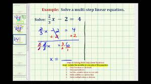 ex solve a two step equation with a fraction