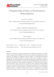 Pdf A Pragmatic Study Of Fallacy In David Camerons Political Speeches