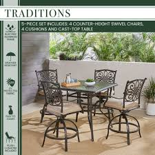 traditions 5 piece high dining set tan