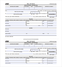 Dmv Ca Bill Of Sale Free 5 Sample Car Bill Of Sale Forms In Pdf Word