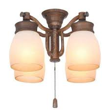 4 light aged bronze ceiling fan fixture with tea stain glass