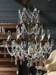 italian colored glass and crystal chandelier