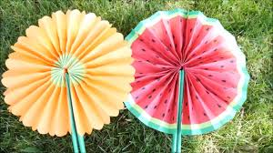 diy how to make cute paper fans hand fans folding fans watermelon flower projects for kids