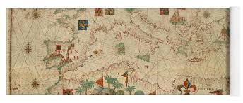 Old Nautical Charts For Sale Antique Maps Old Cartographic Maps Antique Map Of The Nautical Chart Of Mediterranean Area Yoga Mat