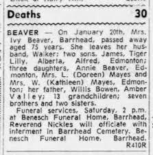 Obituary of Ivy (Bowen) Beaver - Newspapers.com