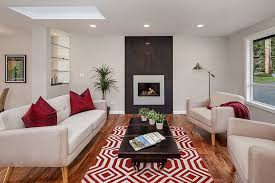 cozy modern living room with fireplace. Cozy Contemporary Living Room With Gas Fireplace And Wood Floors Modern