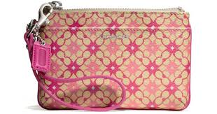 Lyst - Coach Waverly Small Wristlet in Signature Print Coated Canvas in Pink