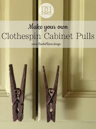A DIY tutorial on how make clothespin cabinet door pulls. Save a lot of  cash by making your own cabinet door knobs with these clothespins, ...