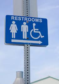 restroom direction sign