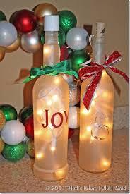 Joy Wine Bottles Christmas Decorations Snow By BriEllaCreations Wine Bottle Christmas Crafts
