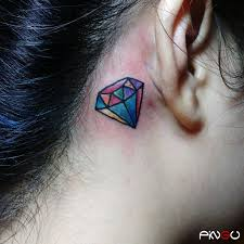 Diamond Behind The Ear Bravetattoo Tattoos Pingu Diamond