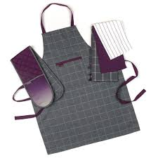 progress ombre performance oven glove and tea towel set with a grey purple