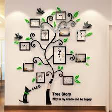 acrylic photo frames wall family tree stickers 3d three dimensional wall sticker home dercor living room tv sofa decals art baby room wall decals baby room