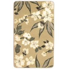 laura ashley madeline taupe 2 ft x 4 ft high definition printed memory foam