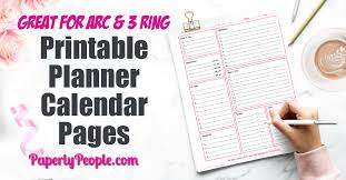Print an easy totally free calendar that you can utilize to track any strategies or ideas in. Printable Planner Calendar System For Staples Arc System Or 3 Ring Binder Paperly People
