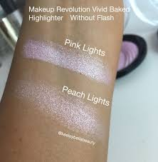 makeup revolution baked highlighters in pink lights and peach lights swatch and review