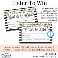 Print Raffle Tickets At Home Enter To Win Raffle Card Prize Entry Ticket Home Party Template Business Marketing Editable Forms Diy Entry Form Instant Download