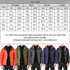 Winter Jacket Size Chart Details About Mens Padded Bubble Coat Hooded Quilted Puffer Jacket Warm Winter Fashion S 3xl