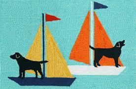 trans ocean frontporch sailing dogs aqua 1402 03 area rug