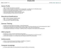 Resume Sample For Hr Fresher Resume Templates Mba Hr Sample Hr
