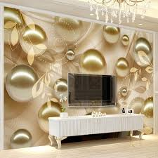 Modern Creative Mural Wallpaper 40D Stereo Gold Pearl Flower Wall Interesting Wall Painting Living Room Creative