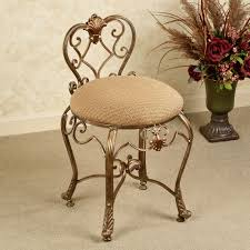 stratton metal bronze finish vanity chair with back and taupe printed fabric seat cushion