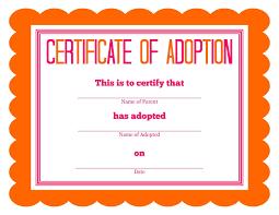 Pet Adoption Certificate Template Pet Adoption Certificate Template Serpto Carpentersdaughter Co
