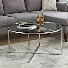 winmoor home transitional round coffee table glass chrome coffee tables best canada