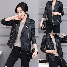2019 winter new style korean style leather women short tops slim fit leather jacket women dress