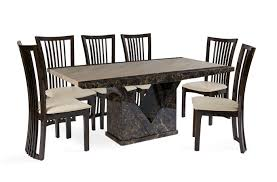 tenore extra large marble dining table with 8 reni cream leather dining chairs