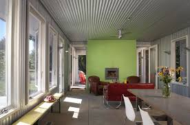 rustic corrugated metal family room industrial with green wall great room metal ceiling