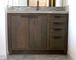 Classic Unfinished Barn Wood Ikea Bathroom Vanity With Double Door Cabinet  Also Four Drawers As Storage In Traditional Bathroom Decors Ideas