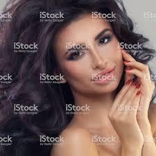 Schönes Modell Frau Mit Gesunder Haut Lange Haare Und Hände Maniküre