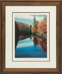 we love this beautiful signed limited edition giclee featuring bright fall colors and a gorgeous view the stark white linen mat with it s pecan burl frame