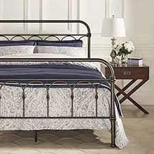 Amazon.com: Vintage Metal Bed Frame Antique Rustic Dark Bronze Cast ...