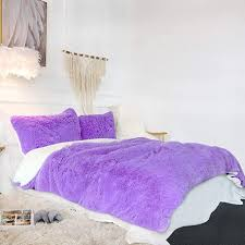 purple fluffy bedding set faux fur