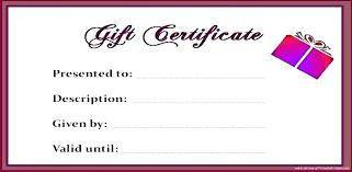 Sample Gift Certificate Template