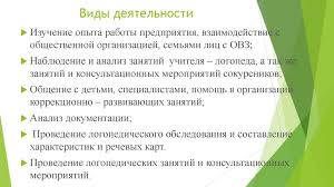 Отчет по практике online presentation  Виды деятельности