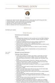 Intern/Account Coordinator Resume samples