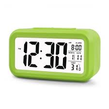 konigswerk 5 3 smart simple and silent led digital alarm clock w date display repeating snooze and sensor light night light green ac005g